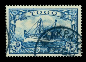 German Colonies - TOGO 1900 Kaiser's YACHT 2m blue Sc# 17 used ATAKPAME cancel