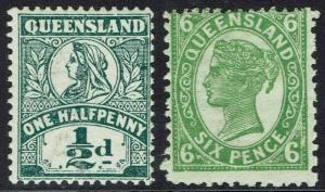 QUEENSLAND 1907 QV 1/2D AND 6D WMK CROWN/A