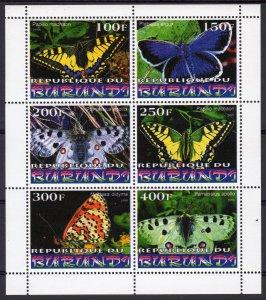 Burundi 1999  BUTTERFLIES Sheetlet of 6 values Perforated MNH