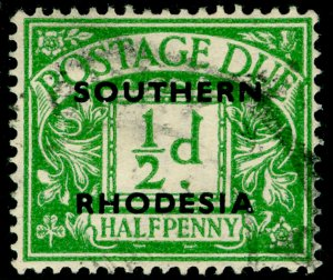 SOUTHERN RHODESIA SGD1, ½d emerald, USED. Cat £18.