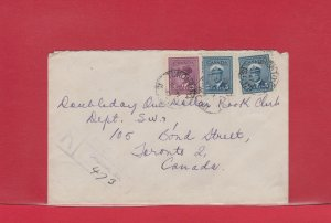Toronto War Issue Registered cover 1947 Canada 2x5c + 3c