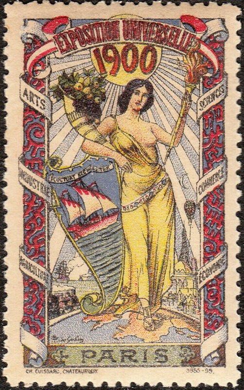 Stamp Label France Exposition 1900 Poster Cinderella International Fair MNH