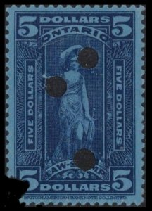 ONTARIO REVENUE 1929 #OL84 $5 BLUE ON BLUE PAPER VERY SCARCE LAW STAMP
