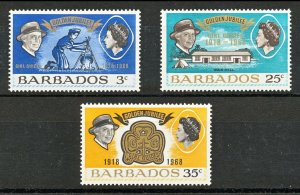 BARBADOS Sc#306-308 Golden Anni. of Girl Guides/Scouts (1968) MNH