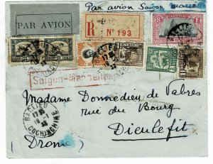 Indochina 1932 Baclieu cancel on registered, airmail cover to France