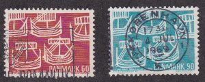 Denmark # 454-455, Five Ancient Ships, Used, 1/2 Cat.