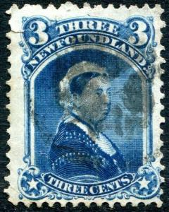 NEWFOUNDLAND-1873 3c Blue Sg 37 GOOD USED V30313