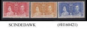 NORTHERN RHODESIA - 1937 KGVI CORONATION - 3V - MINT NH