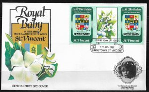 1982 St. Vincent #653 Birth of Prince William pair with label FDC