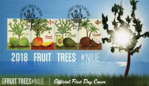 Niue 2018 FDC Fruit Trees Mango Coconut Avocado Tree 4v M/S Cover Fruits Stamps