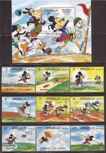 Anguilla - 1984 Disney Olympics - 9 Stamp Sheet + Souvenir Sheet - Scott #559-68