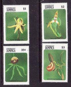 Dominica-Sc#1187-92-unused NH 1/2 set-Flowers-Orchids-Flora-1989-