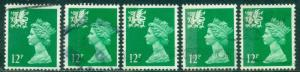 GREAT BRITAIN WALES SG-W27, SCOTT#  WMMH-18, USED, 5 STAMPS, GREAT PRICE