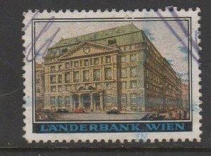 Austria - Vienna Bank Building Cinderella Poster Advertising Stamp, used