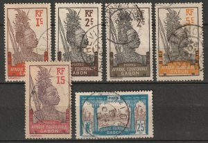 Gabon 1910 Sc 49/59 partial set used, includes 50b