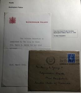 1949 London England Royalty Kings Private Secretary Official Cover To USA Letetr