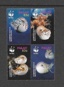 SHELLS - PAPAU #853  CHAMBERED NATILUS WWF   MNH