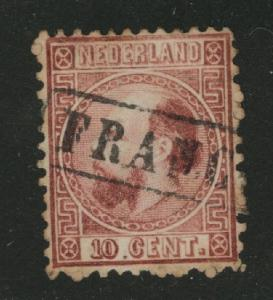 Netherlands Scott 8a used 1867 stamp perf 12.75 x 11.75