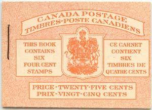 Canada - 4c Carmine Pane Complete Bilingual Booklet #BK41b -VF-NH Cat. $75.