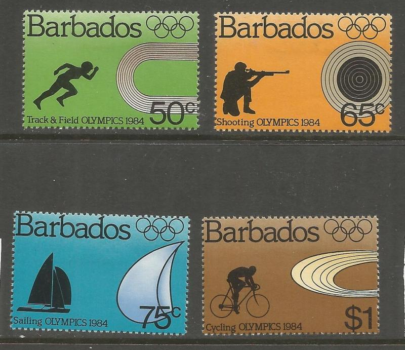 BARBADOS 623-626 MINT HINGED, 1984 OLYMPICS, LOS ANGELES