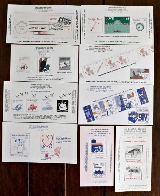 1980s Wilkinsburg, PA. Stamp Club Exhibition Souvenir Sheets - 9 Issues -