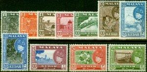 Kedah 1957 Set of 11 SG92-102 Fine & Fresh Mtd Mint