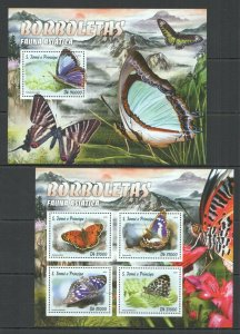 ST2911 2016 S. TOME & PRINCIPE INSECTS ASIAN FAUNA BUTTERFLIES 1KB+1BL MNH