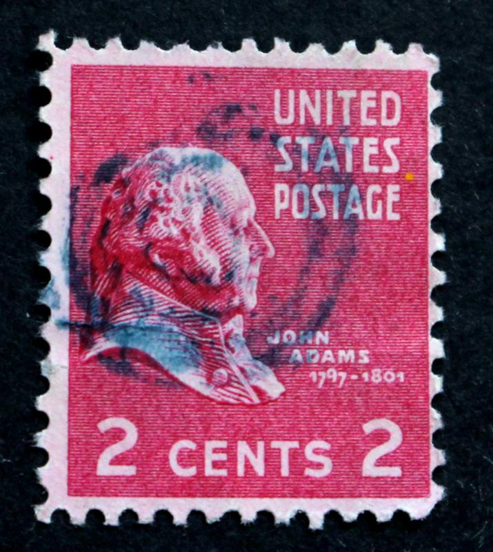 US Stamps Sc 805 SON BLUE TARGET CANCEL 2 Cent John Adams 1938