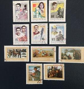 Albania, 1969,Sc1211-15,1201-6,hero, Pinning