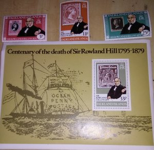Falkland Is Death of Rowland Hill 291-4 mnh