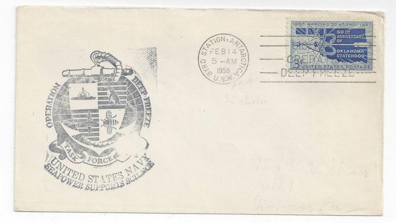 Navy Cover Operation Deep Freeze 1958 Byrd Station Antarctic