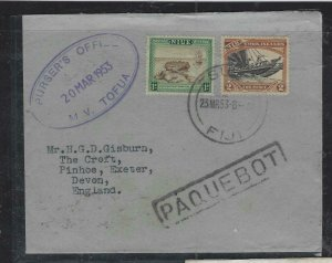NIUE COVER (P2312B)  1953 1D+2D MV TOFUA PAQUEBOAT COVER FROM FIJI TO ENGLAND