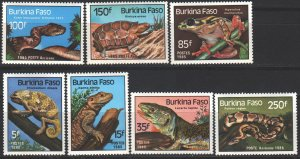 Burkina Faso. 1985. 1005-11. Reptiles, frogs, lizards fauna. MNH.