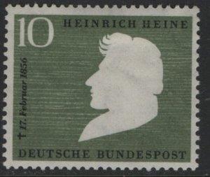 Germany 740, HINGED, 1956 Heinrich Heine, Poet, death cent.