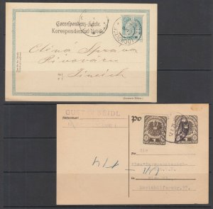 Austria H&G 131, 245 used 1900 5h & 1921 1k uprated 1k Postal Card, 2 diff