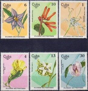 CUBA Sc# 2369-2374  FLOWERS plants COMPLETE SET of 6   1980  MNH mint