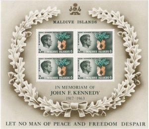 Maldive Islands # 163a, John F. Kennedy, Souvenir Sheet, NH, 1/2 Cat.