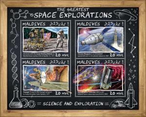 MALDIVES - 2017 - Greatest Space Explorations - Perf 4v Sheet - MNH