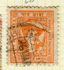 INDIA; INDORE 1927 early pictorial issue fine used 1/4a. value