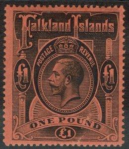 FALKLAND ISLANDS 1912 KGV 1 POUND