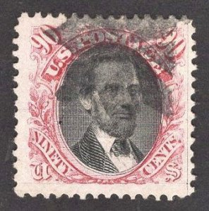 JUMBO US Stamp #122 90c Carmine & Black Lincoln USED SCV $1800