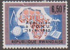 Rwanda 10 Map of Africa and Symbolic Honeycomb 1963