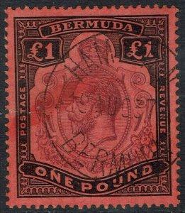 BERMUDA 1918 KGV 1 POUND WMK MULTI CROWN CA USED
