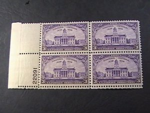 US # 838-MINT NEVER/HINGED---LL--PLATE # BLOCK OF 4(#22091)---OLD CAPITOL--1938
