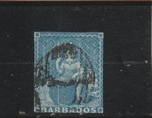 Barbados  Scott#  2  Used  (pencil notation on back)