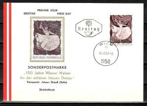 Austria, Scott cat. 786. Composer Strauss`s Blue Danube issue. First day cover.