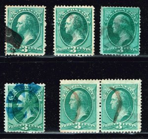US STAMP 19TH USED 3C GREEN FANCY STAMP COLLECTION LOT