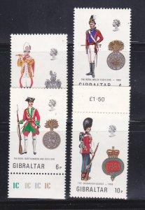 Gibraltar 299-302 Set MNH Military Uniforms