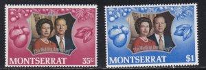 Montserrat # 286-287, Queen Elizabeth's Silver Wedding, NH, 1/2 Cat.