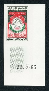 1963 - Algeria - Imperforated - Imperf- National Solidarity Fund - Hands- MNH**